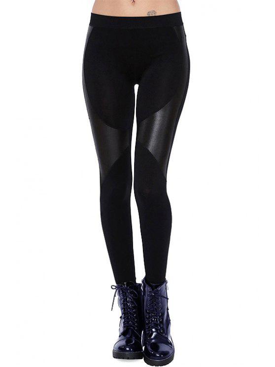 chic PU Leather Spliced Skinny Black Leggings - BLACK XS