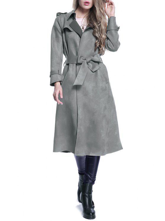buy Faux Suede Lapel Long Sleeve Self Tie Coat - GRAY XL