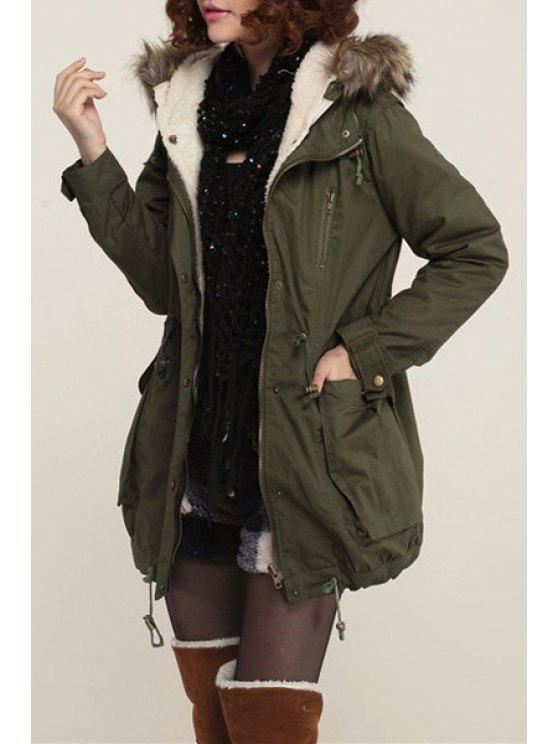 affordable Army Green Hooded Pockets Drawstring Parka Coat - ARMY GREEN S
