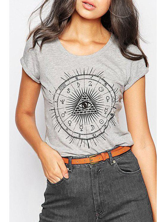 fancy Pyramid Print Short Sleeve T-Shirt - GRAY L