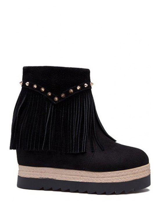 ladies Fringe Rivet Hidden Wedge Short Boots - BLACK 35