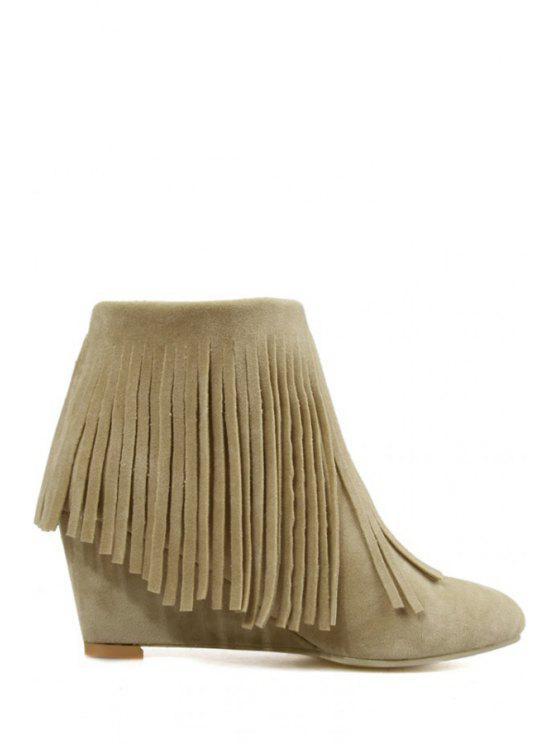 latest Pointed Toe Fringe Wedge Heel Short Boots - OFF-WHITE 34