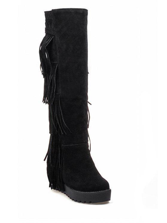 trendy Fringe Solid Color Platform Mid-Calf Boots - BLACK 34