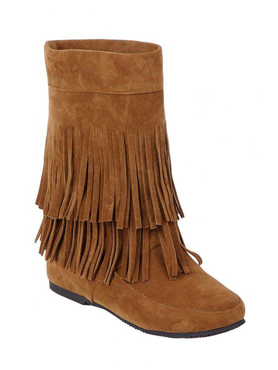 shops Solid Color Fringe Mid-Calf Boots - BROWN 34