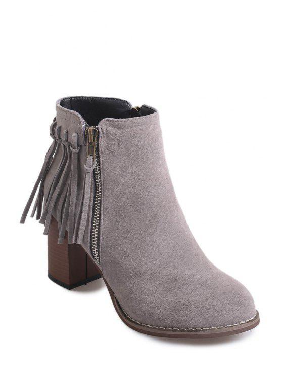 ladies Chunky Heel Zipper Fringe Short Boots - GRAY 35