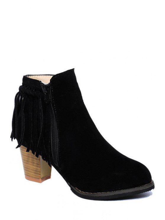 shops Solid Color Chunky Heel Fringe Short Boots - BLACK 39
