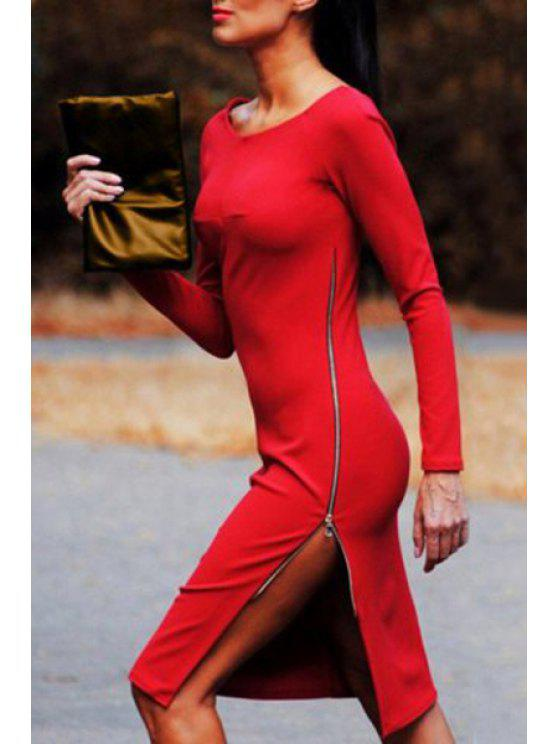 latest Zippered Side Slit Bodycon Dress - RED XL