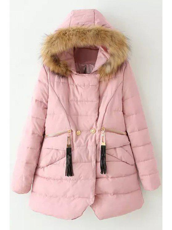buy Solid Color Hooded Long Sleeves Thicken Down Coat - PINK M