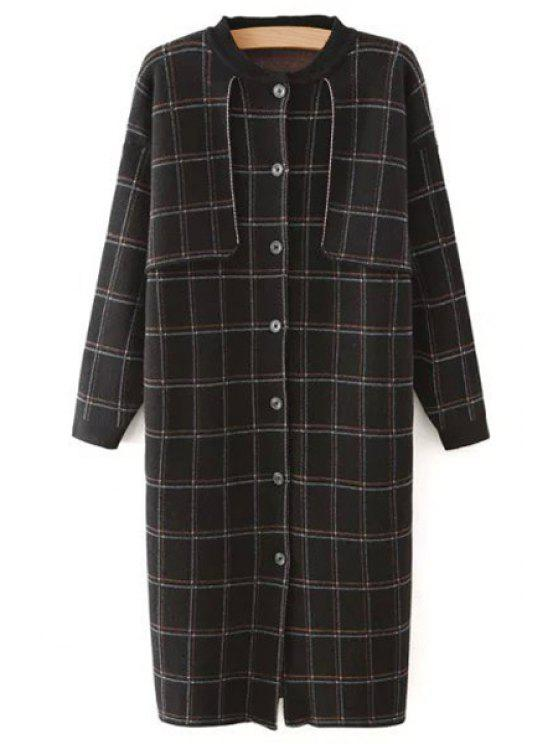 women's Checked Stand Collar Long Sleeves Long Knitted Coat - BLACK ONE SIZE(FIT SIZE XS TO M)