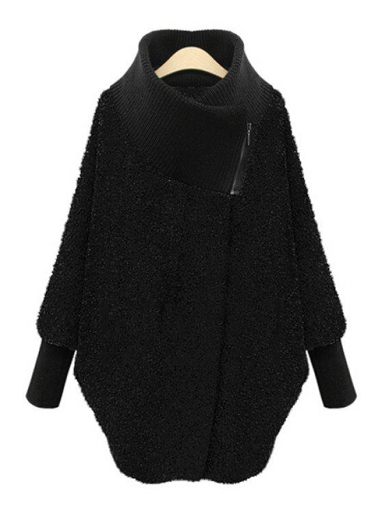 fashion Funnel Collar Thick Knit Coat - BLACK S