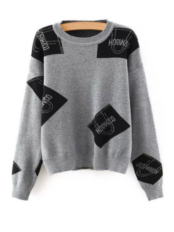 Color Block Letter Print Round Neck Sweater - GRAY ONE SIZE(FIT SIZE XS TO M)
