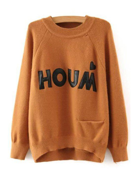 women's Letter Print Pocket Round Neck Sweater - KHAKI ONE SIZE(FIT SIZE XS TO M)