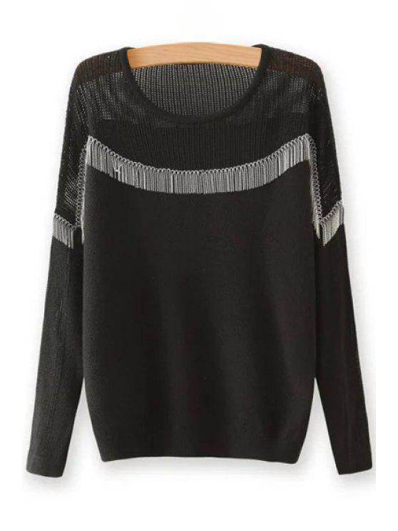 outfit Chain Embellished Round Neck Long Sleeves Sweater - BLACK ONE SIZE(FIT SIZE XS TO M)