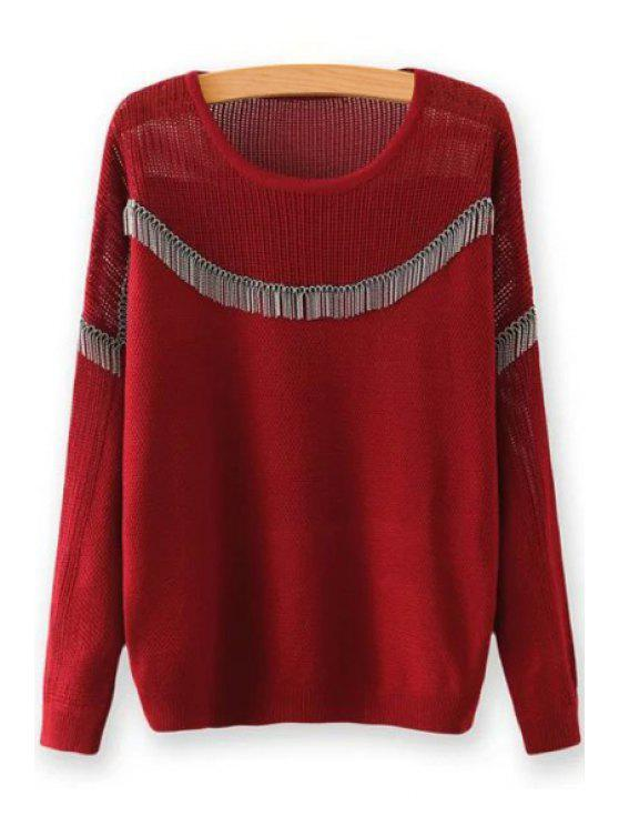 Chain Embellished Round Neck Long Sleeves Sweater WINE RED ...