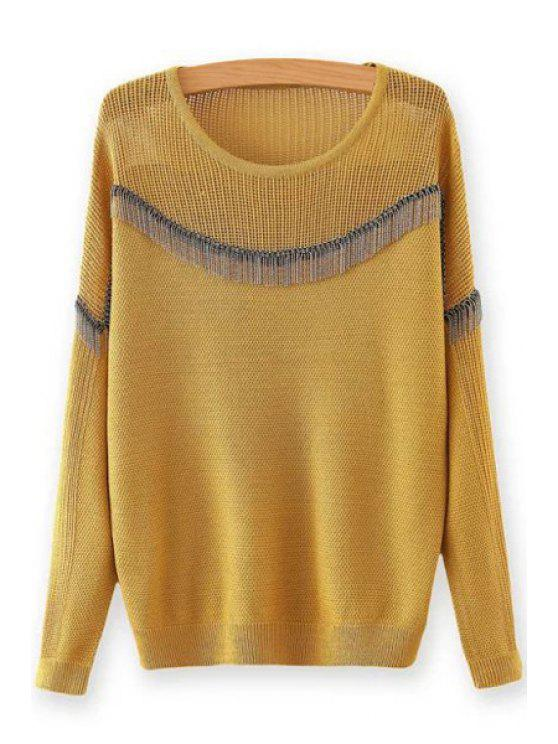 trendy Chain Embellished Round Neck Long Sleeves Sweater - YELLOW ONE SIZE(FIT SIZE XS TO M)