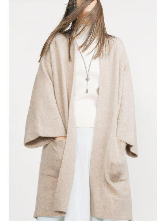 fashion Off-White Collarless Long Sleeve Cardigan - OFF-WHITE S
