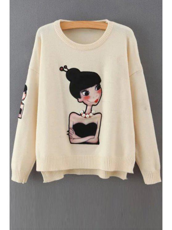 chic Cartoon Figure Print Round Neck Long Sleeves Sweater - WHITE ONE SIZE(FIT SIZE XS TO M)