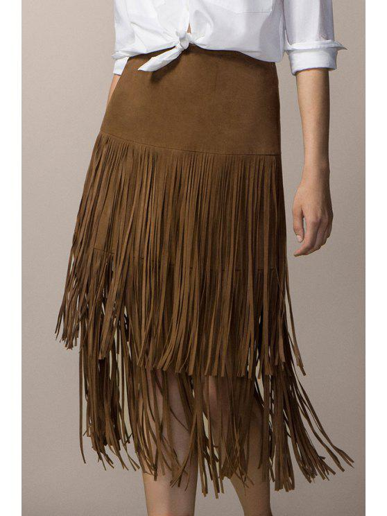 affordable Tassels Faux Suede High Waisted Skirt - KHAKI M