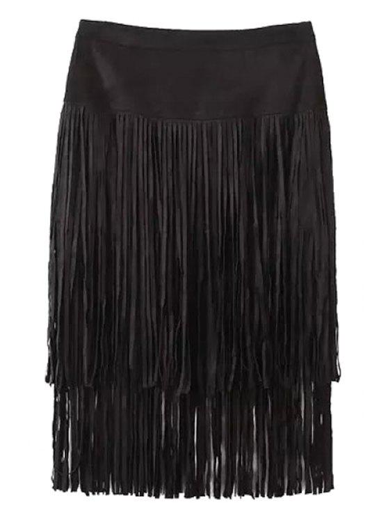 womens Tassels Faux Suede High Waisted Skirt - BLACK S