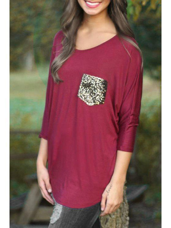 chic 3/4 Sleeve Sequined Pocket T-Shirt - WINE RED S
