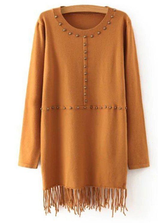 women Solid Color Tassels Round Neck Long Sleeves Sweater - KHAKI ONE SIZE(FIT SIZE XS TO M)