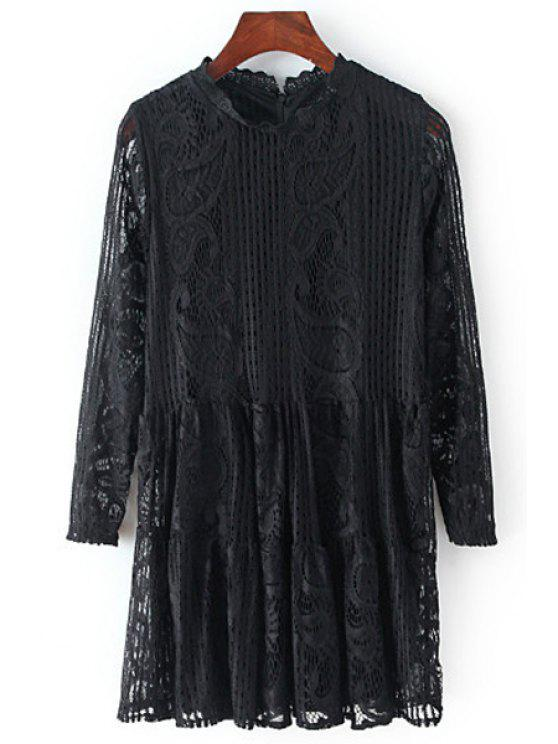 unique Solid Color Openwork Lace Hook 3/4 Sleeves Blouse - BLACK ONE SIZE(FIT SIZE XS TO M)