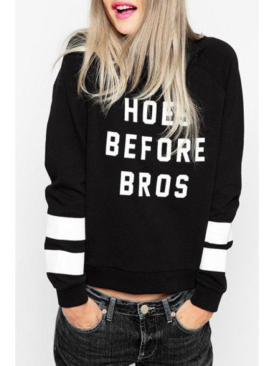 sale Letter Print Baseball Style Sweatshirt - BLACK S