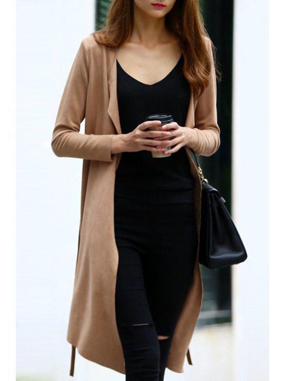 women Open Front Belted Suede Coat - COFFEE S