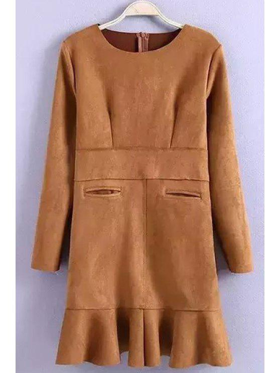 fancy Flounce Solid Color Suede Long Sleeves Dress - KHAKI M