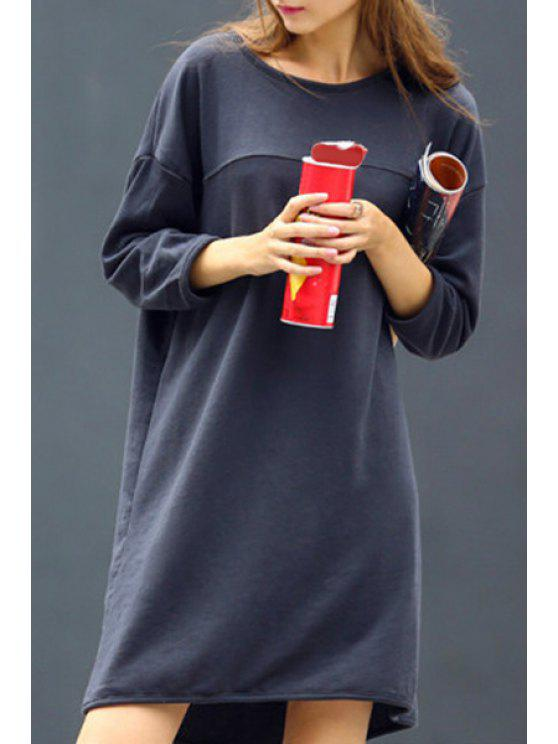 affordable 3/4 Sleeve Loose Fit Sweatshirt Dress - DEEP GRAY S