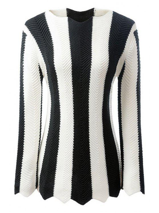 shops Black and White Striped Long Sleeve Jumper - WHITE AND BLACK M