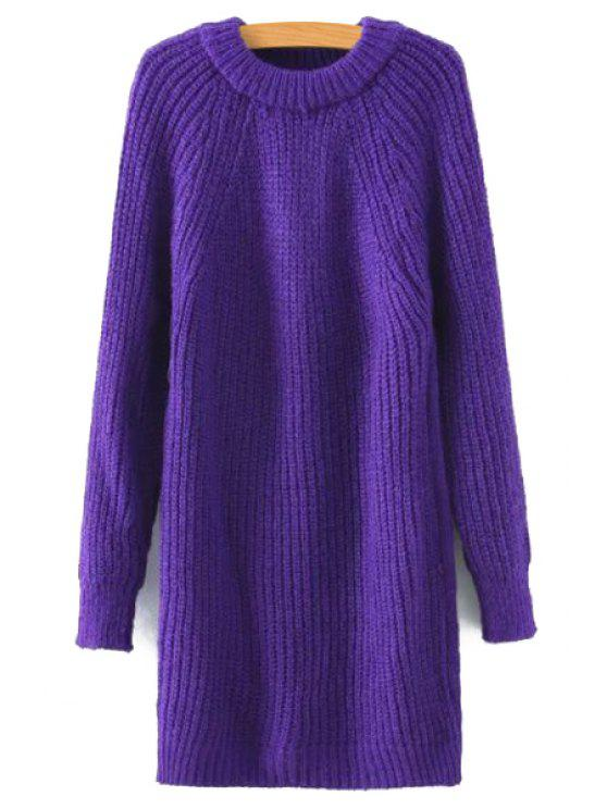shops Solid Color Long Round Collar Long Sleeves Sweater - PURPLE M