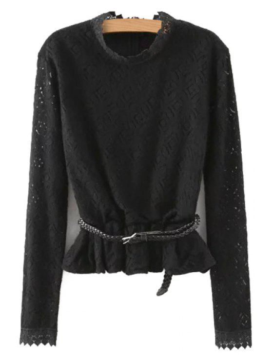 ladies Solid Color Lace Stand Collar Long Sleeves Blouse - BLACK S