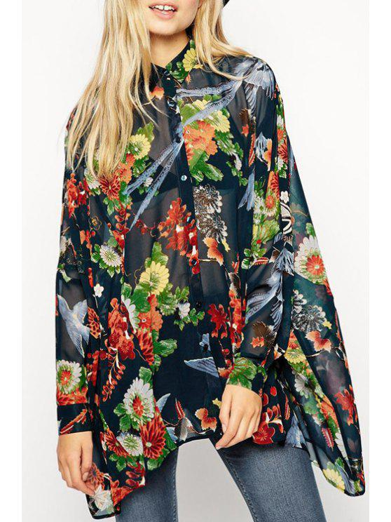 shop Floral Print Long Sleeve Irregular Shirt - BLACK S