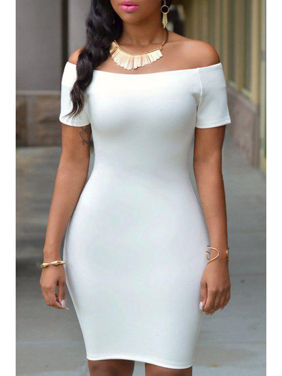unique Off-The-Shoulder Short Sleeve Bodycon Dress - WHITE ONE SIZE(FIT SIZE XS TO M)