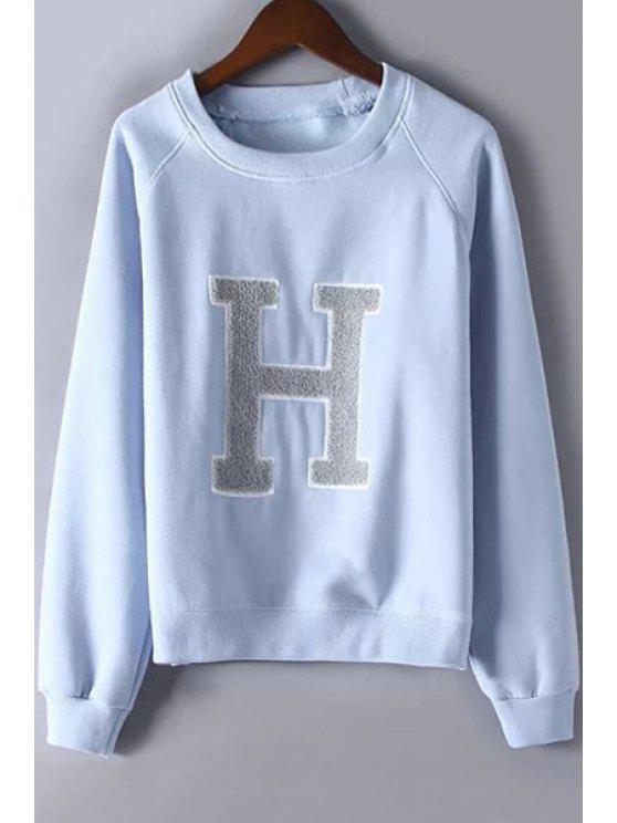 sale Letter Print Thicken Round Collar Long Sleeves Sweatshirt - LIGHT BLUE M