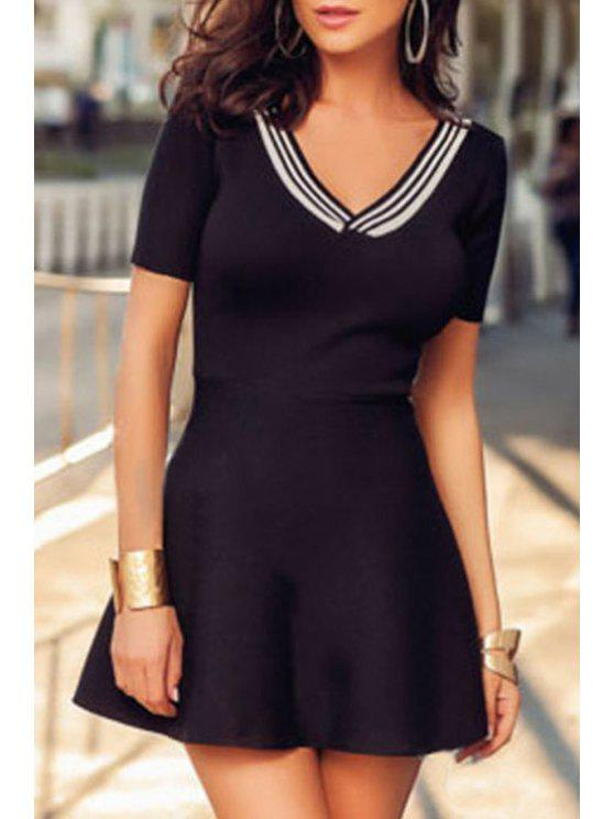 latest V-Neck Short Sleeve Fit and Flare Dress - BLACK ONE SIZE(FIT SIZE XS TO M)