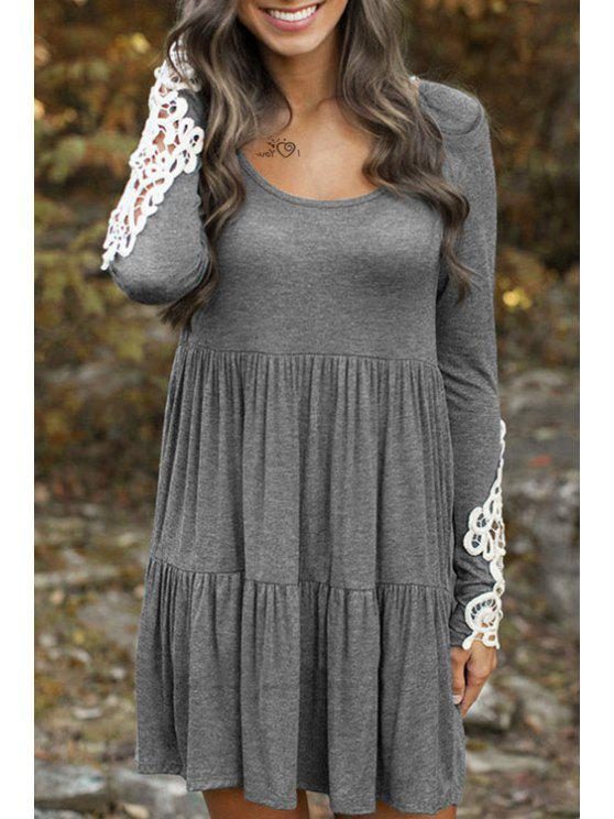 sale Long Sleeve Lace Patchwork Tiered Dress - GRAY ONE SIZE(FIT SIZE XS TO M)