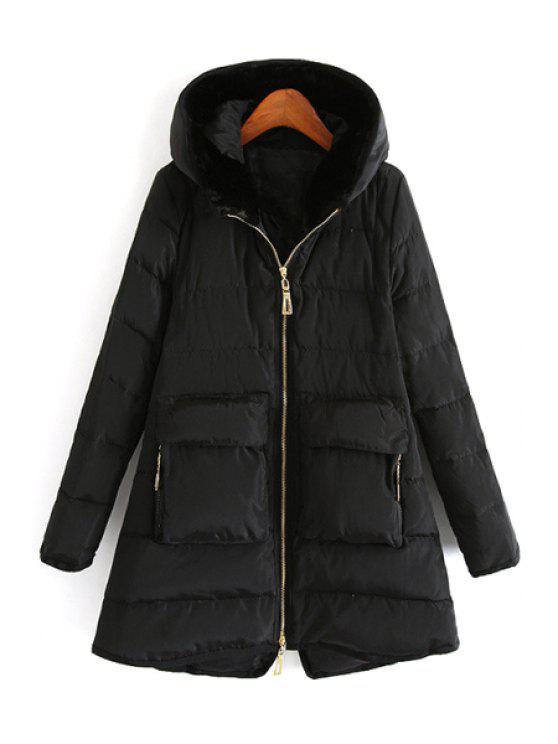 chic Hooded Fur Collar Long Sleeve Down Coat - BLACK S