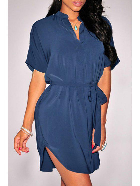 women's V-Neck Short Sleeve Self-Tie Belt Dress - BLUE M