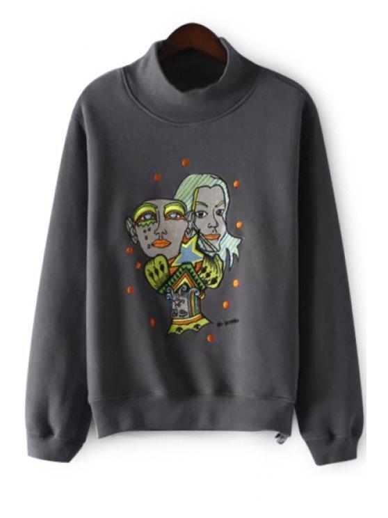 women Cartoon Figure Print Thicken Stand Collar Sweatshirt - GRAY M