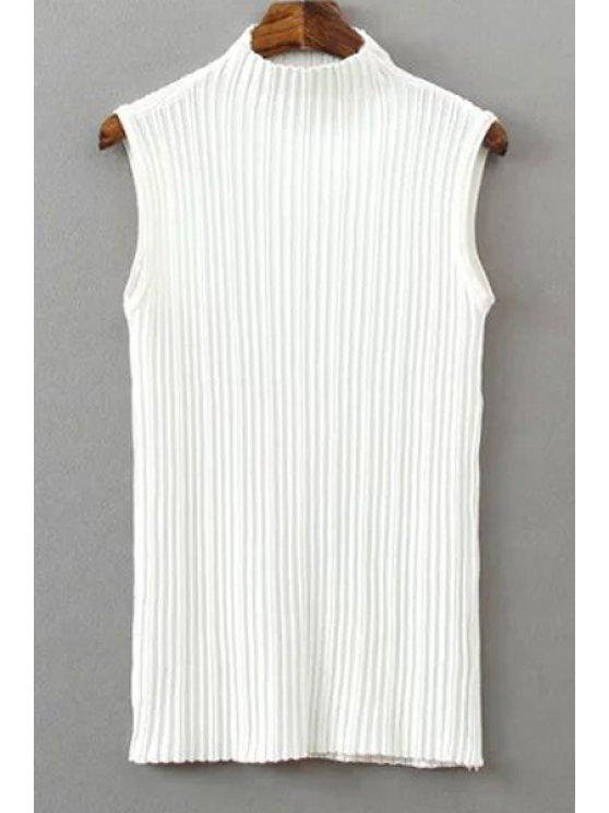 buy Pure Color Stand Neck Knit Tank Top - WHITE ONE SIZE(FIT SIZE XS TO M)