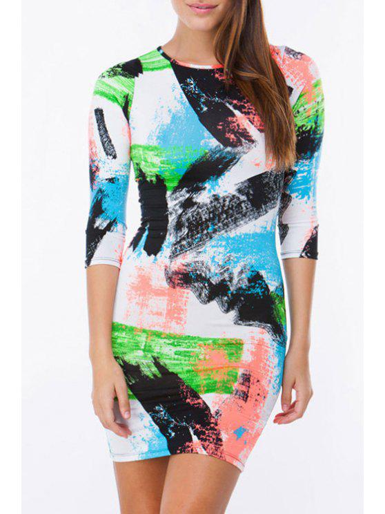 womens 3/4 Sleeve Colorful Sheath Dress - COLORMIX M