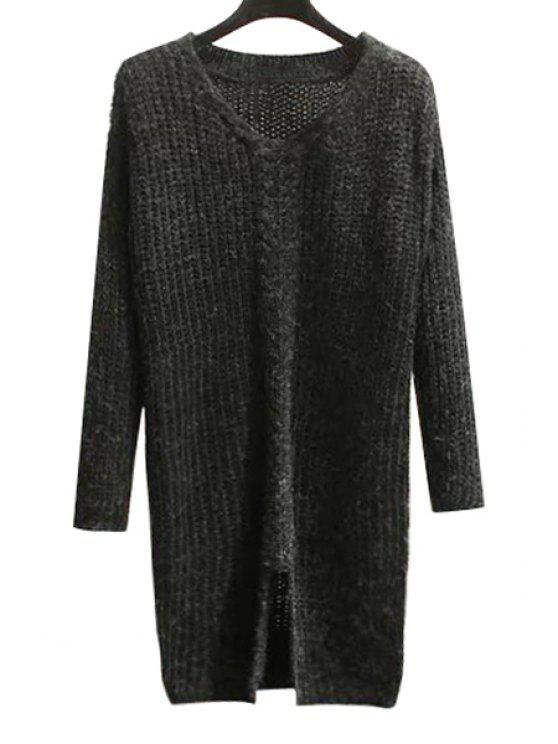 trendy Pure Color V Neck Long Sleeve Slit Jumper - BLACK ONE SIZE(FIT SIZE XS TO M)