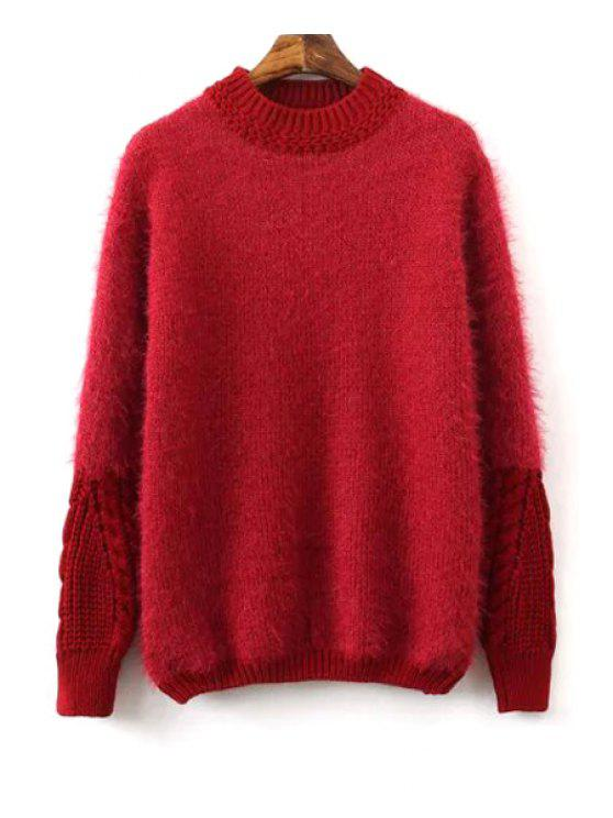 fancy Mohair Spliced Round Neck Long Sleeve Jumper - RED ONE SIZE(FIT SIZE XS TO M)