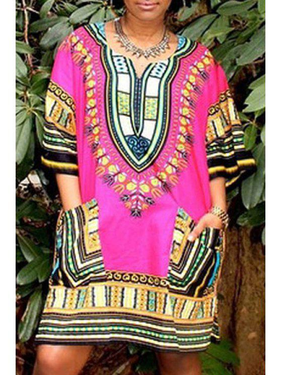 outfit V-Neck Printed Big Pockets Dress - COLORMIX ONE SIZE(FIT SIZE XS TO M)