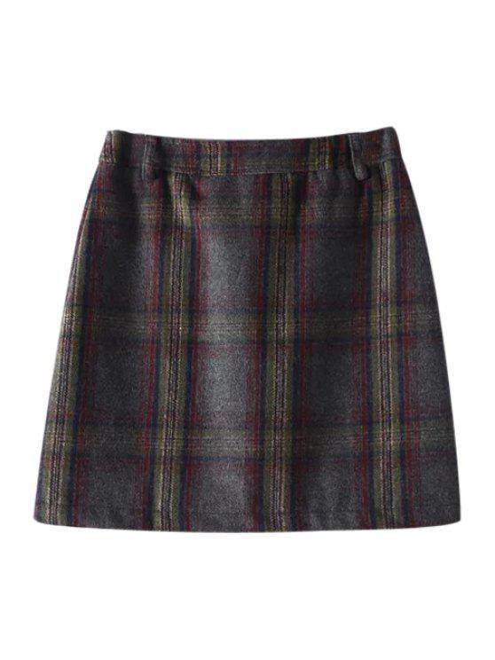 shop Checked Woolen Pockets Winter Skirt - COLORMIX M