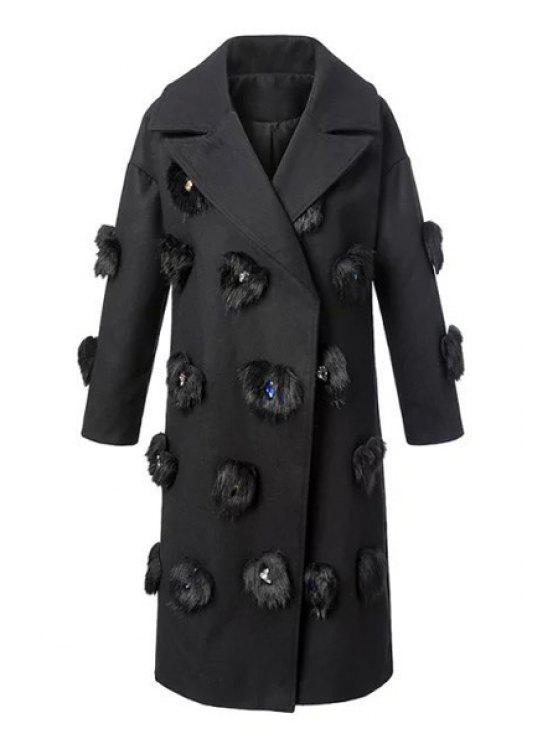 buy Faux Fur Spliced Lapel Long Sleeves Coat - BLACK M