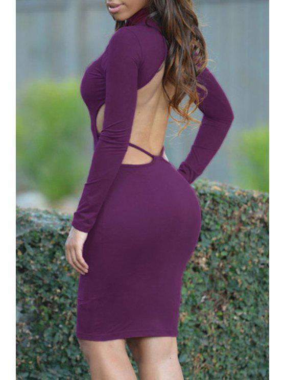 best Long Sleeve Hollow Back Sheath Dress - PURPLE ONE SIZE(FIT SIZE XS TO M)