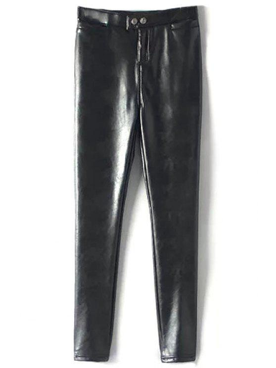 fashion PU Leather Solid Color Thicken Narrow Feet Pants - BLACK L